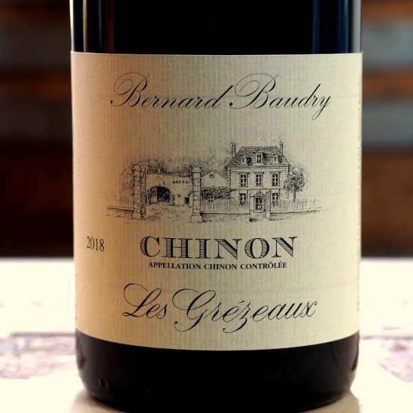 Domaine Bernard Baudry Chinon Les Grézeaux 2018 - front label close-up